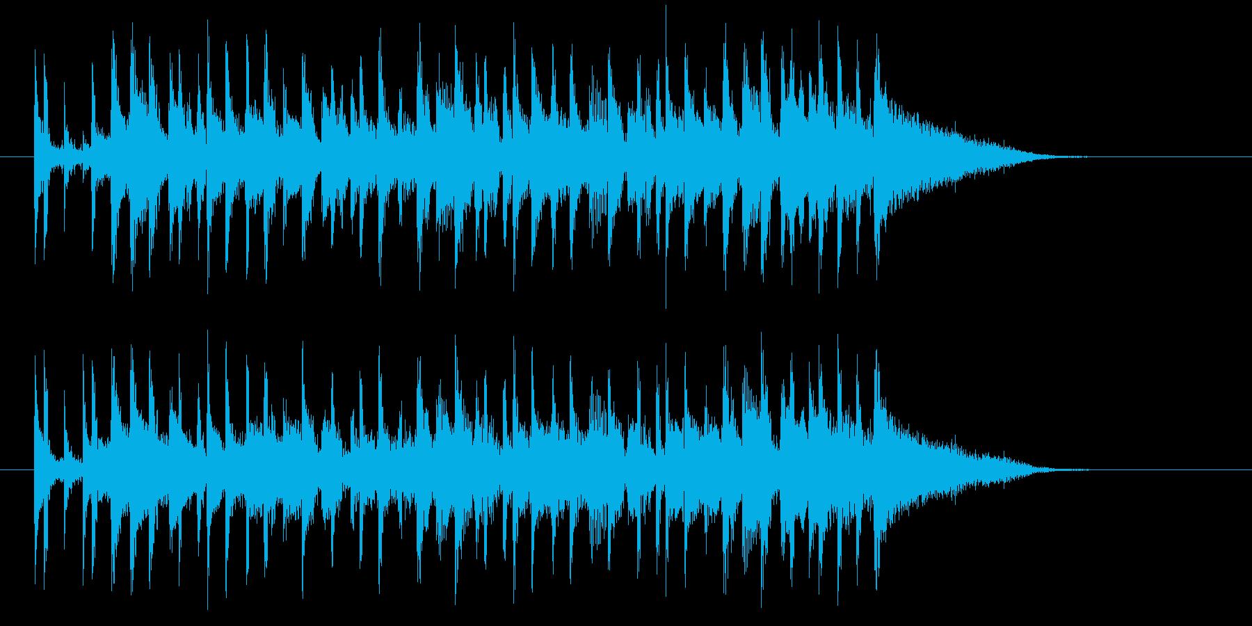 アップテンポな明るい音楽の再生済みの波形