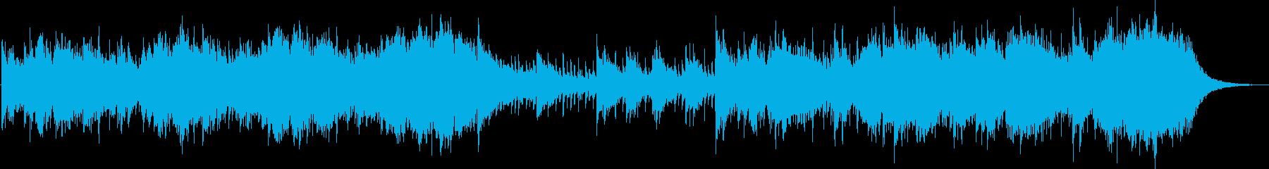 打楽器とストリングスの勇壮な曲の再生済みの波形