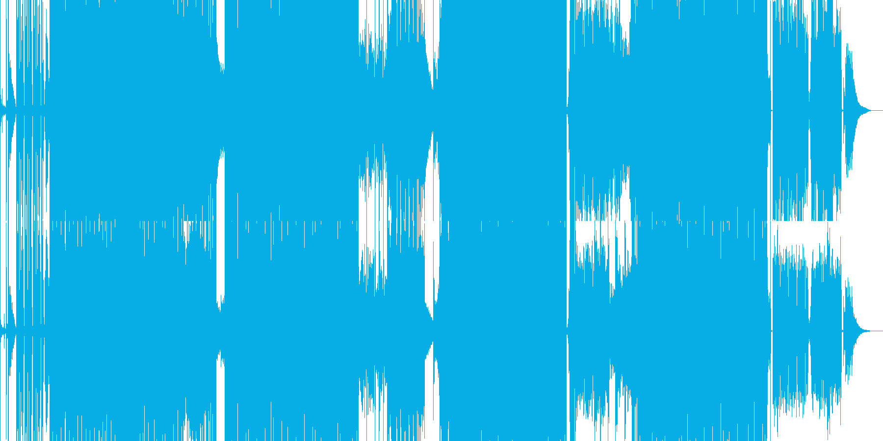 迫力のあるカーチェイスなどのBGMの再生済みの波形