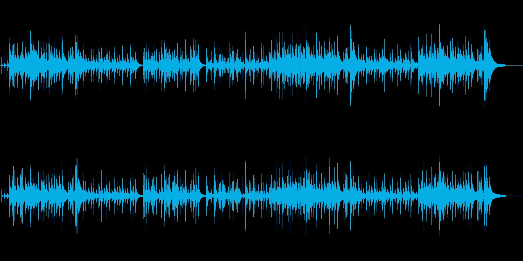 優しく物静かなピアノ曲の再生済みの波形
