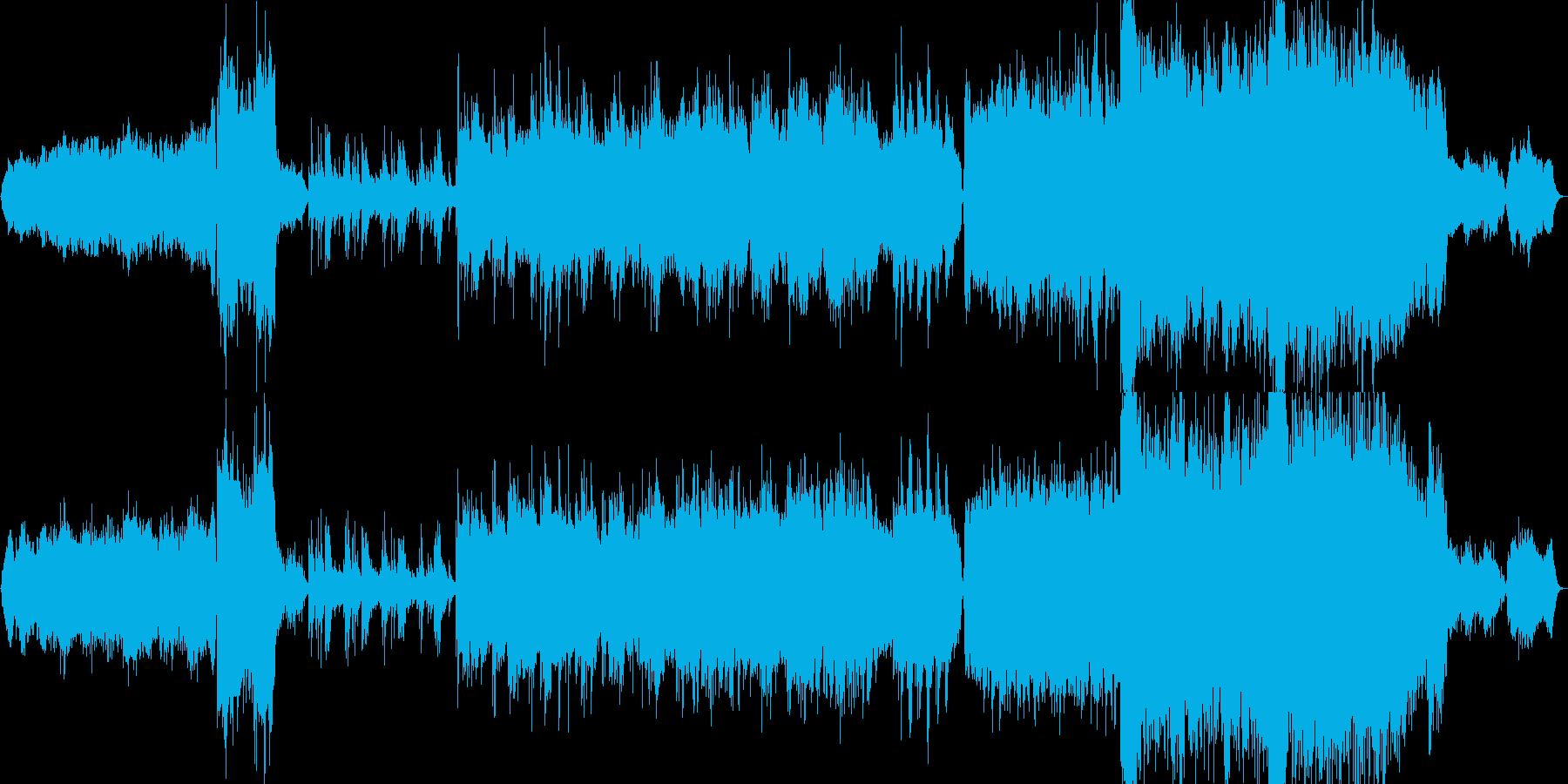 ロマンチックなピアノとストリングスの劇判の再生済みの波形