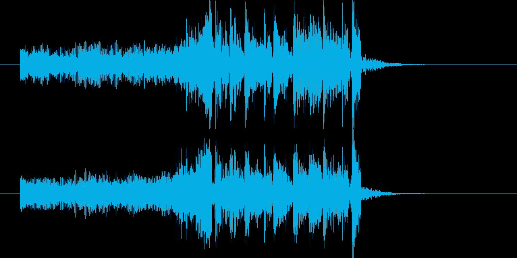 ワイルドなギターとドラムのロックの再生済みの波形