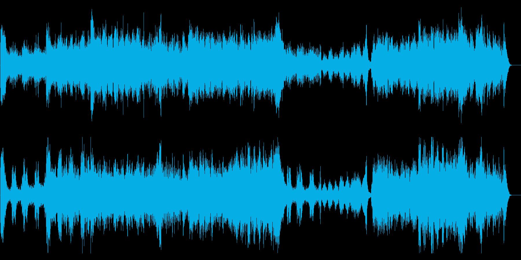 迫力あるメロディアスなオーケストラ曲の再生済みの波形