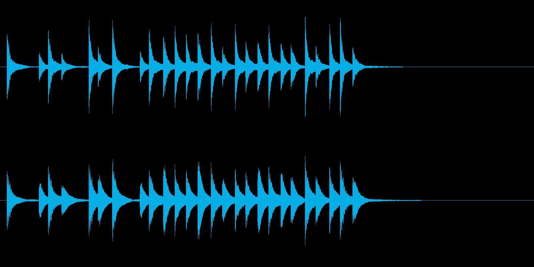 邦楽の小さな鉦、松虫軽快フレーズ音+FXの再生済みの波形