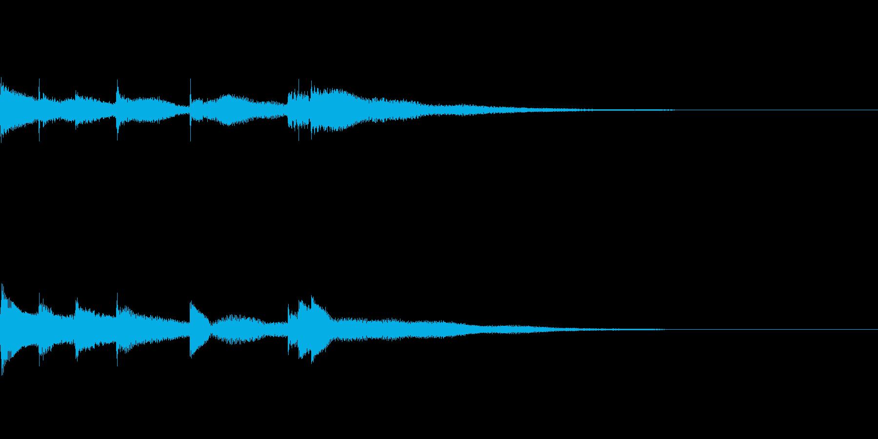 ピアノソロによるスタートアップ 通知音の再生済みの波形