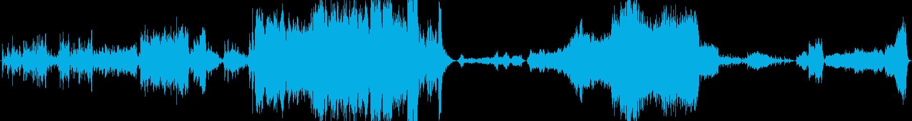 劇的に展開するオーケストラ曲の再生済みの波形