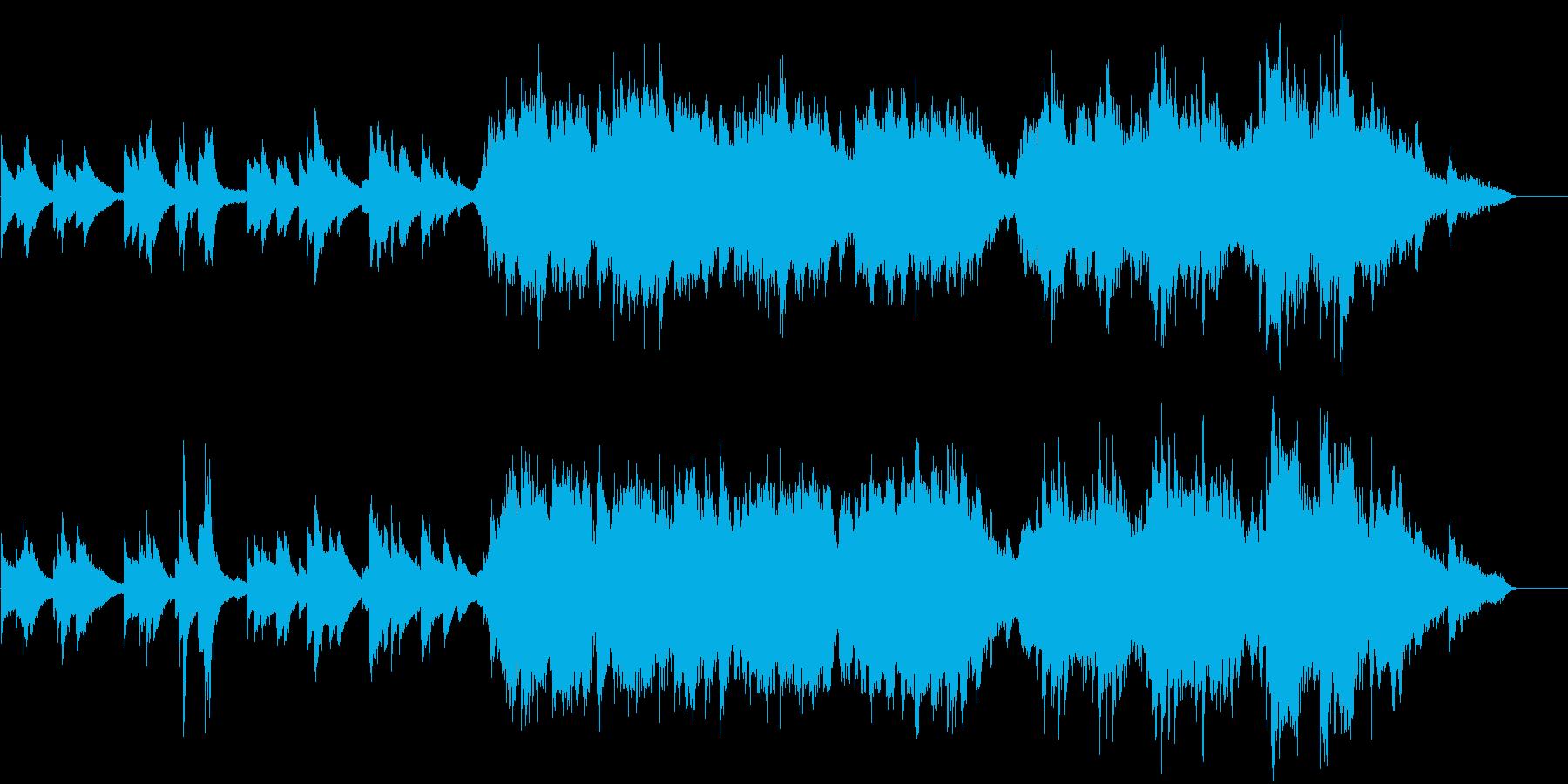 愁いのあるメロディーのピアノと弦楽の曲の再生済みの波形