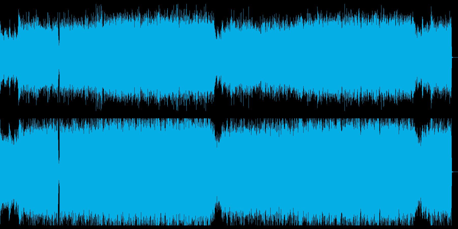 緊迫感あるデジタルロックとバイオリンの再生済みの波形