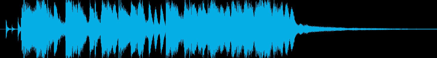 軽快で爽やかなボサノヴァ・ジングル、ロゴの再生済みの波形