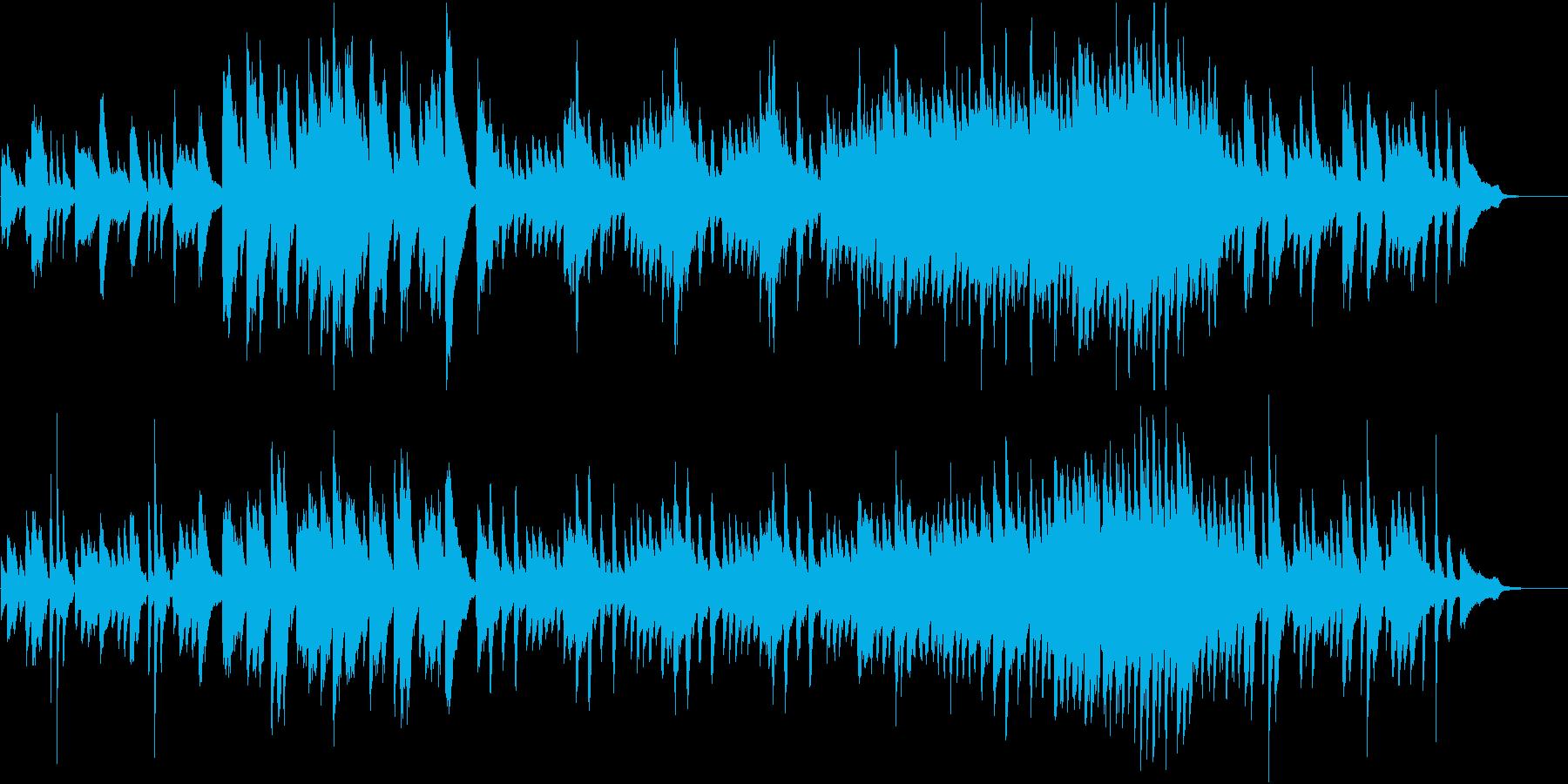 軽快なピアノとパーカッションの再生済みの波形