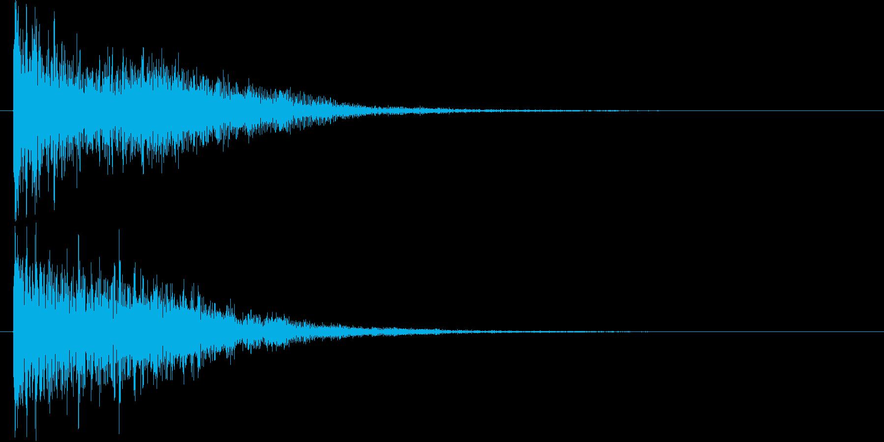 瞬間移動した瞬間とその後の余韻音の再生済みの波形