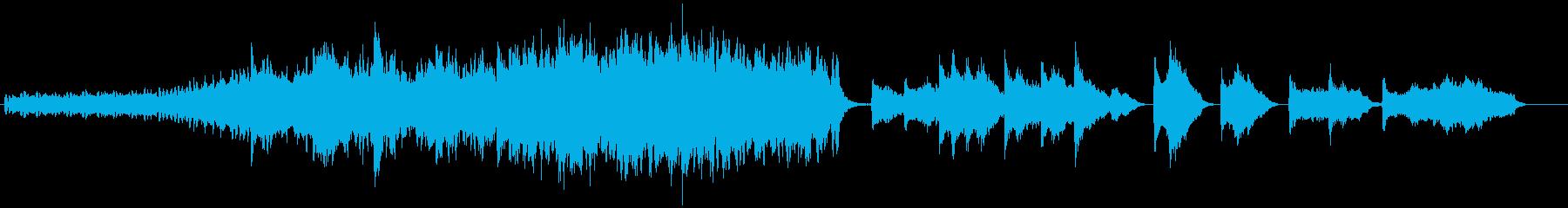 幻想的に盛り上がるピアノと弦楽曲の再生済みの波形