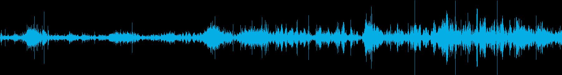 落ち葉の上を歩いている音の再生済みの波形