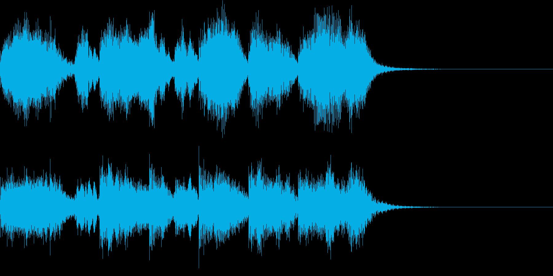 ブラスバンドのファンファーレ風ジングルの再生済みの波形