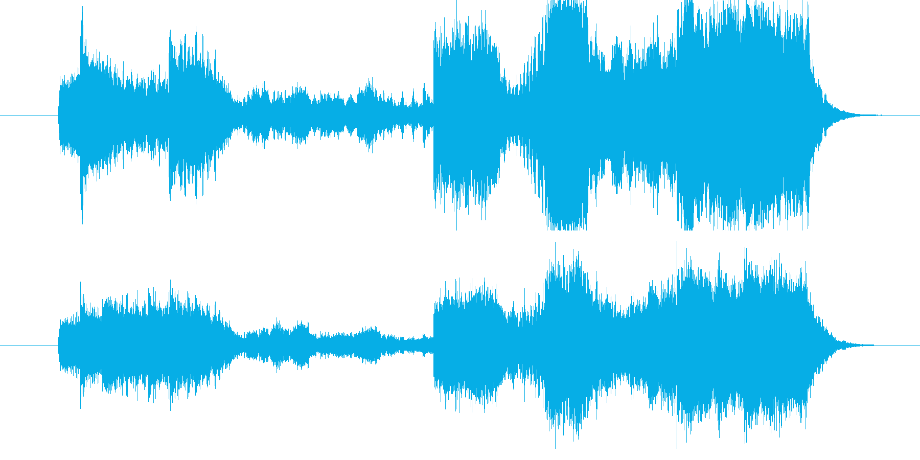 テンポ速めのファンファーレ。頭の空白、…の再生済みの波形
