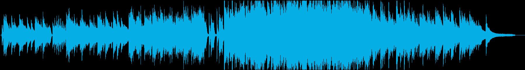 ピアノとストリングスを使用した感動的な曲の再生済みの波形