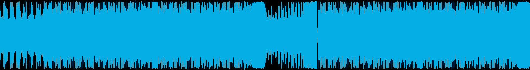 疾走感のある激しいギターロックのループ曲の再生済みの波形