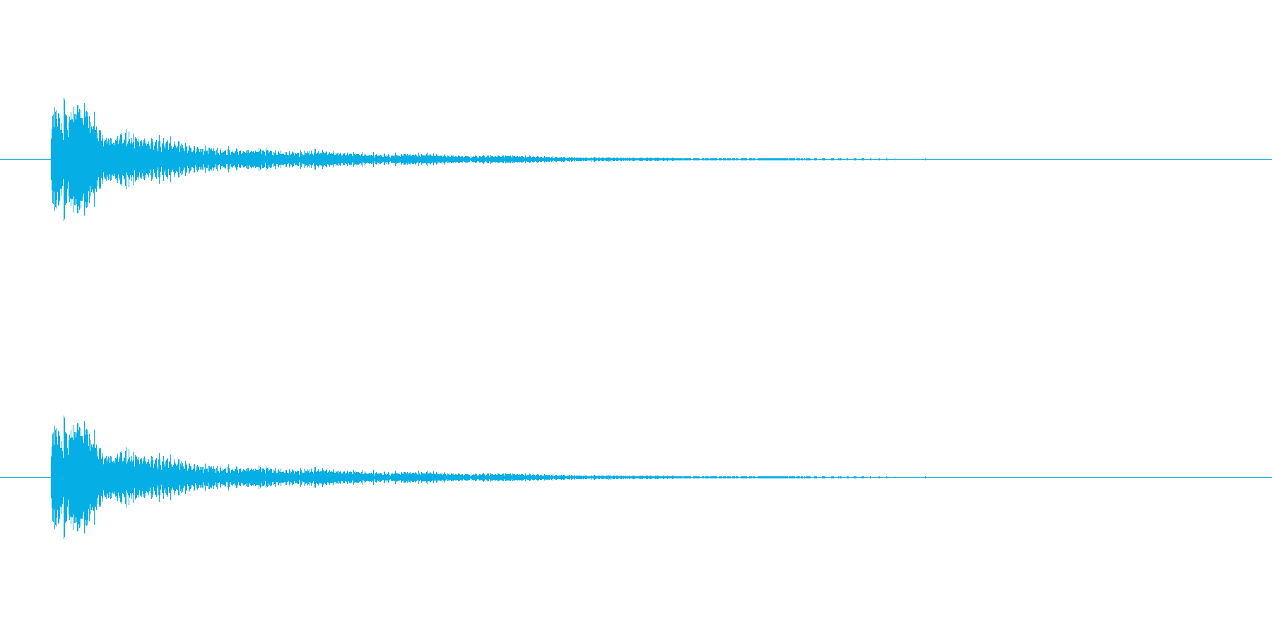 琴をジャラーンと鳴らしたような音(和音)の再生済みの波形