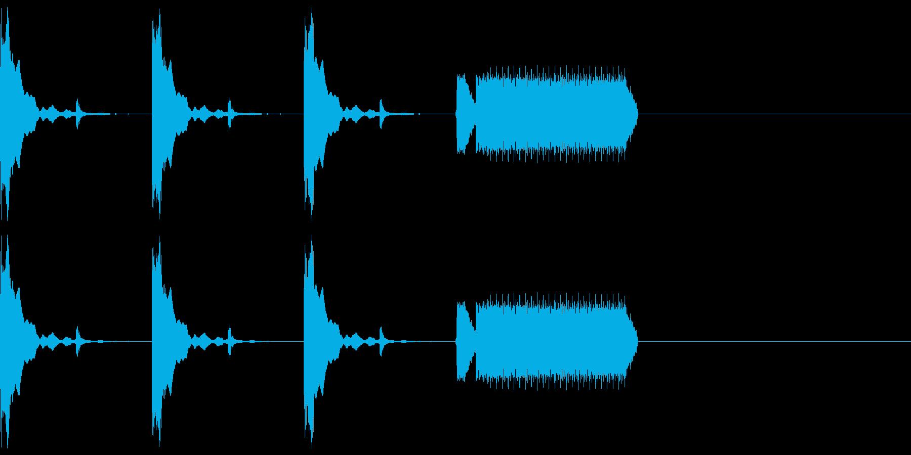 カウントダウン3秒チクタク+ホイッスルの再生済みの波形