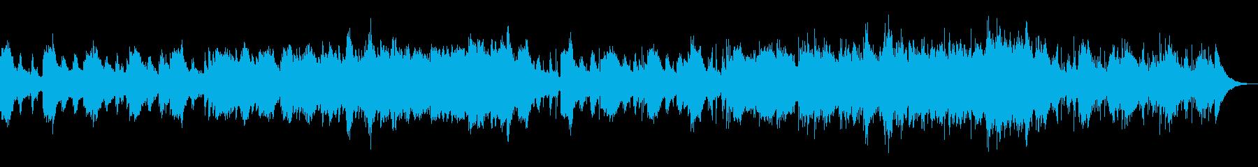 キラキラしたシンセサイザーと優しいピアノの再生済みの波形