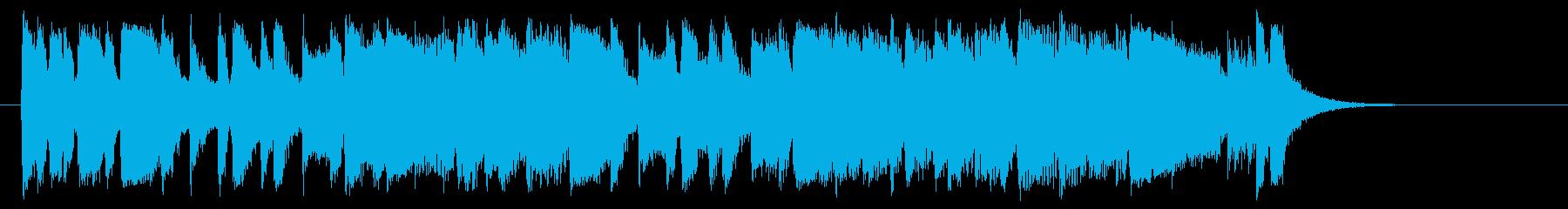 元気なアップテンポのシンセサイザー曲の再生済みの波形