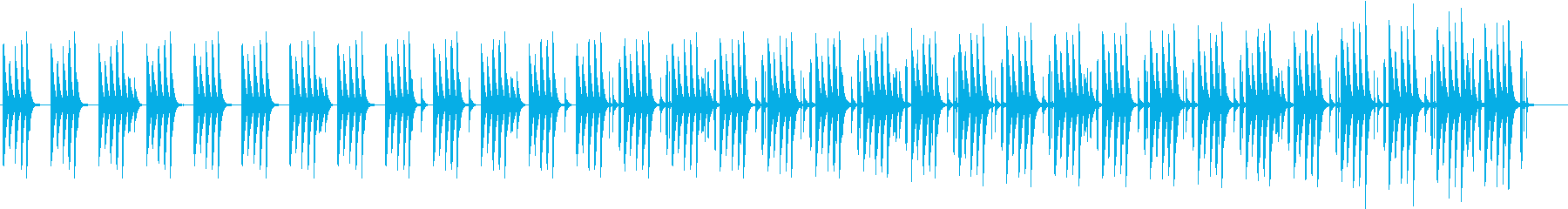 同じフレーズが続く木琴のかわいらしい曲の再生済みの波形