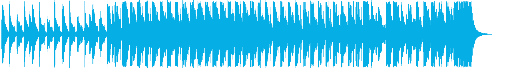 アップテンポの短めのシンセサイザーの曲の再生済みの波形