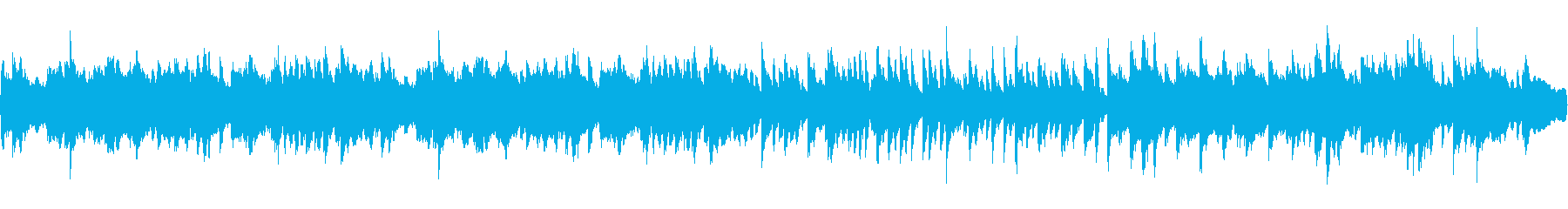 ほのぼのしたオーケストラとピアノの曲の再生済みの波形