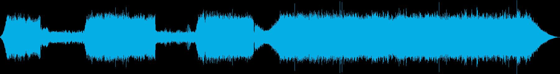 遠くの川から聴こえるせせらぎと虫の音の再生済みの波形
