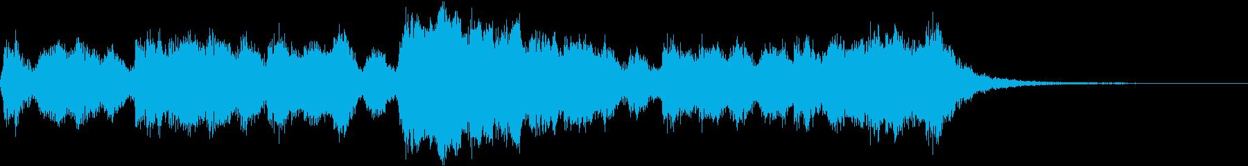オーケストラによる元気なジングルの再生済みの波形