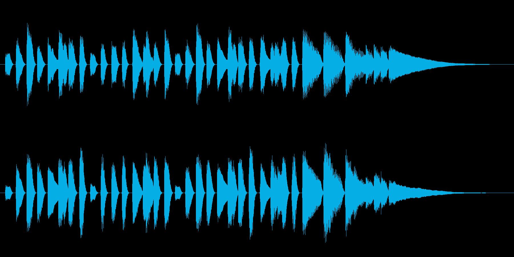 ほのぼの系ピアノのオープニングジングルの再生済みの波形