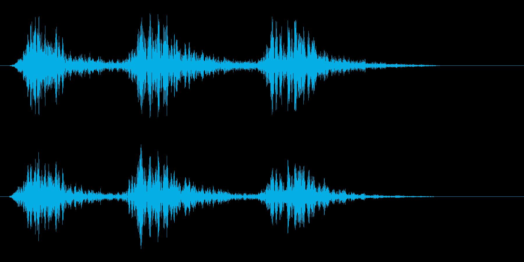 ダタタン(身近なものを叩いたような音)の再生済みの波形
