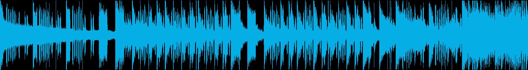 シンセサイザーっぽい音色のループ音楽の再生済みの波形