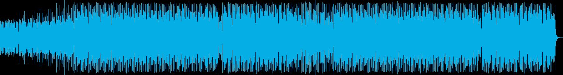 わくわくする4つ打ちのテクノ音の再生済みの波形
