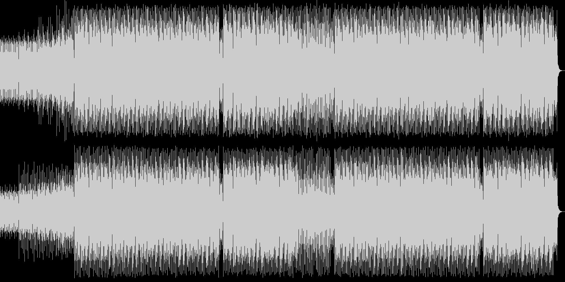 わくわくする4つ打ちのテクノ音の未再生の波形