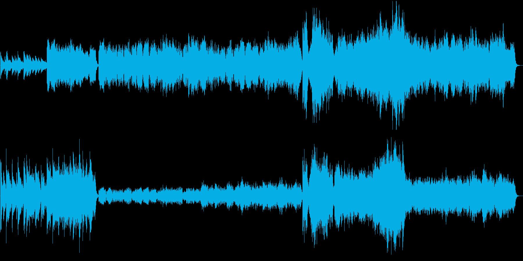 静かな箇所と盛り上がる箇所がある劇伴曲の再生済みの波形