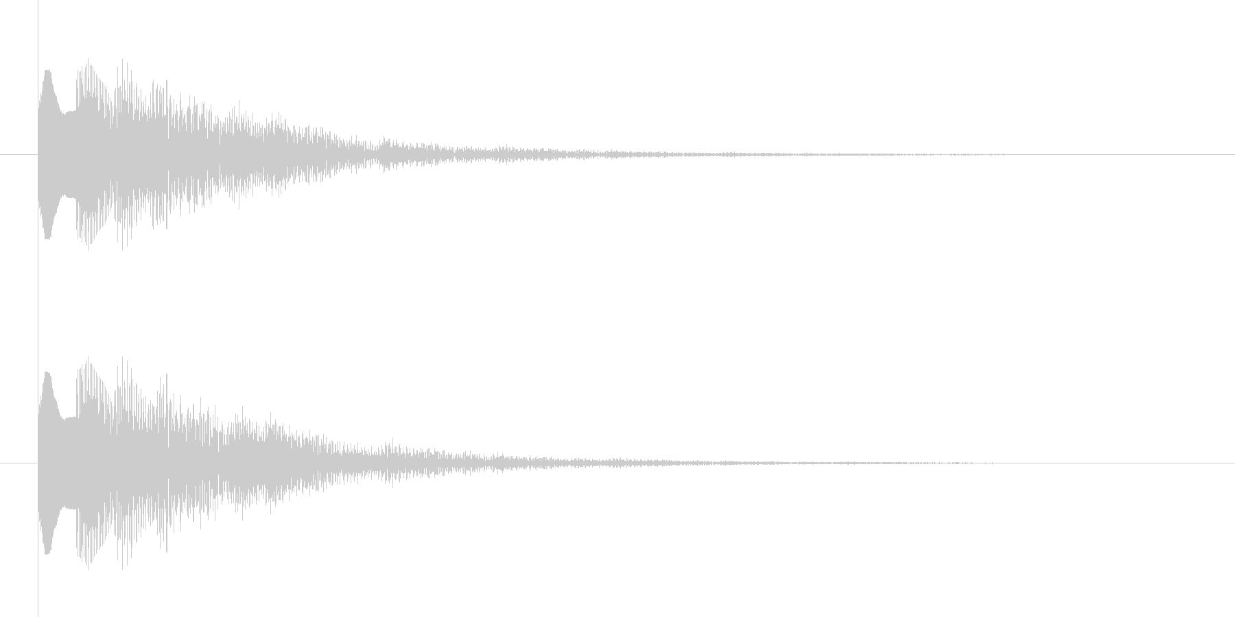 下降系のナチュラル、温かみのある決定音1の未再生の波形