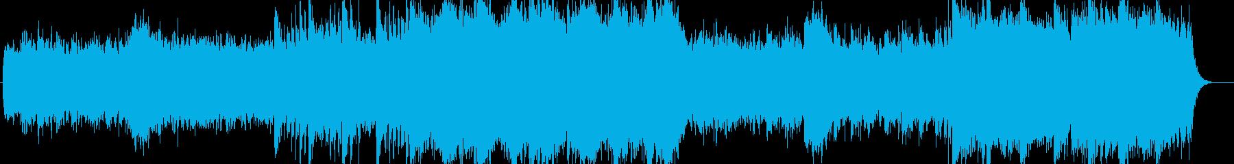 晴れやかでゆったりしたシンセサイザー楽曲の再生済みの波形