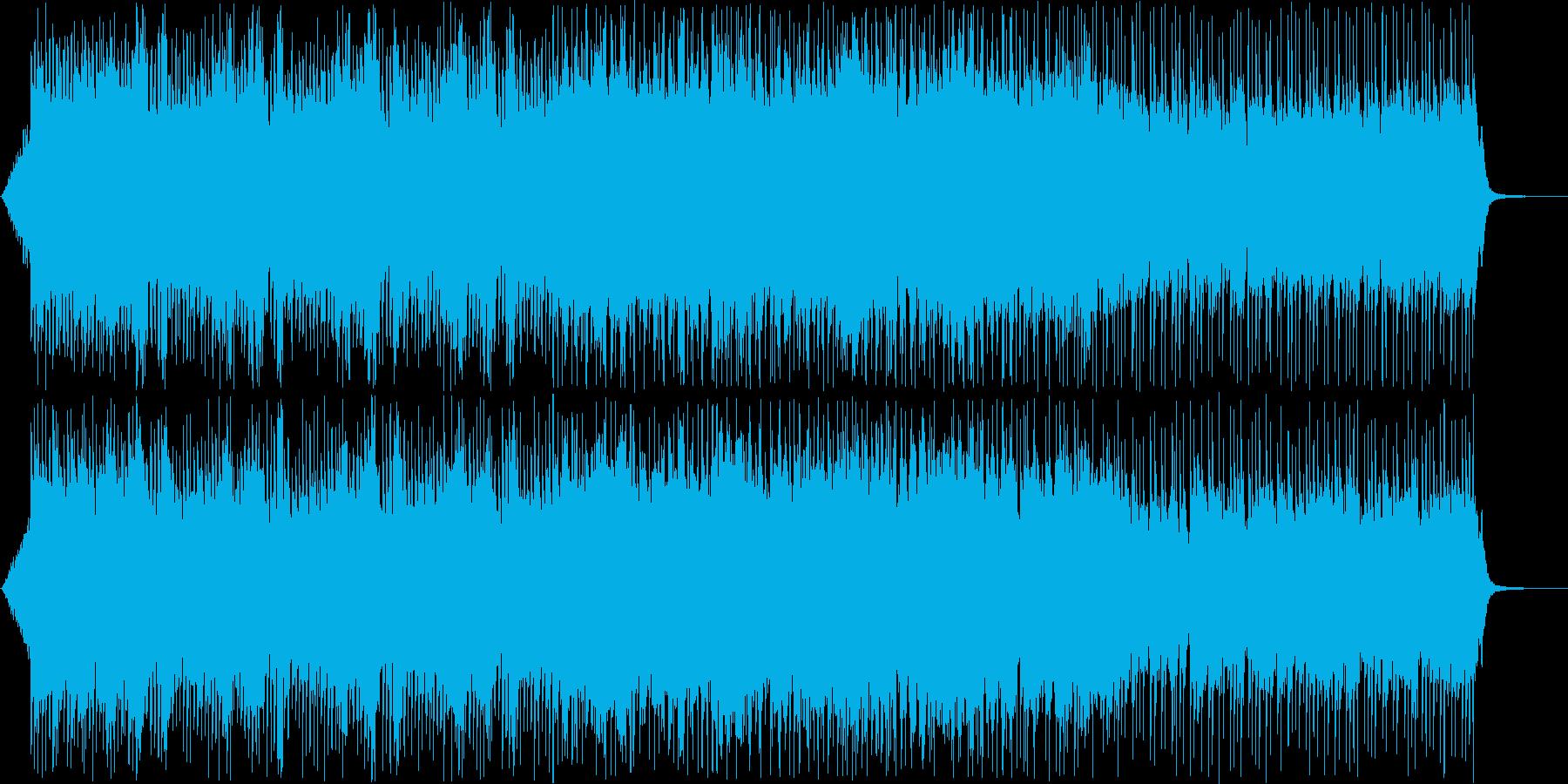 テクノのような電子音で疾走感のある音楽の再生済みの波形