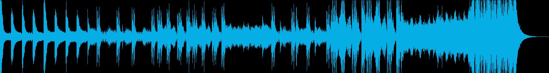 リズミカルで緊迫感のあるオーケストラ楽曲の再生済みの波形