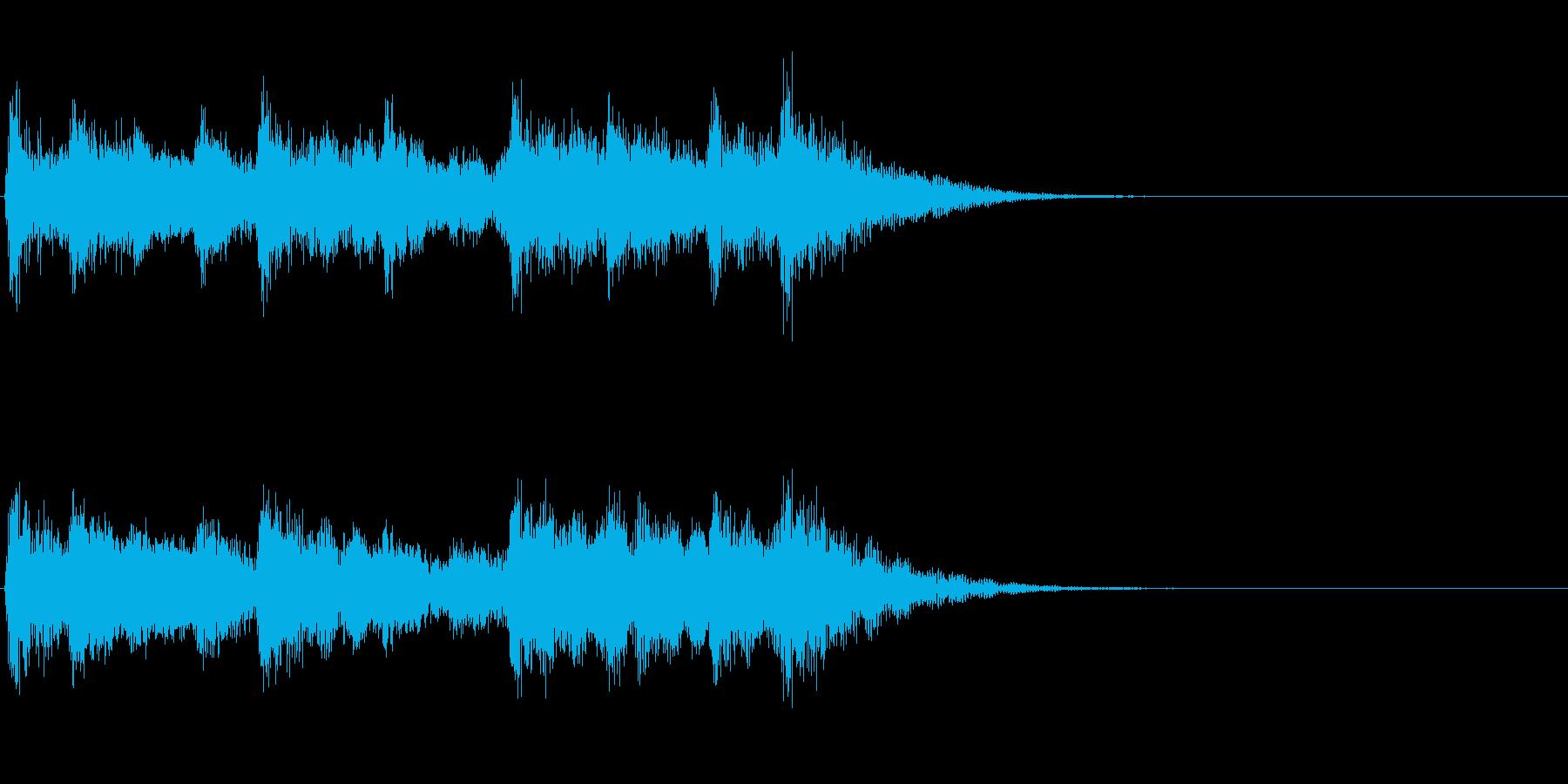 和風ジングル:篠笛と太鼓のお囃子の再生済みの波形