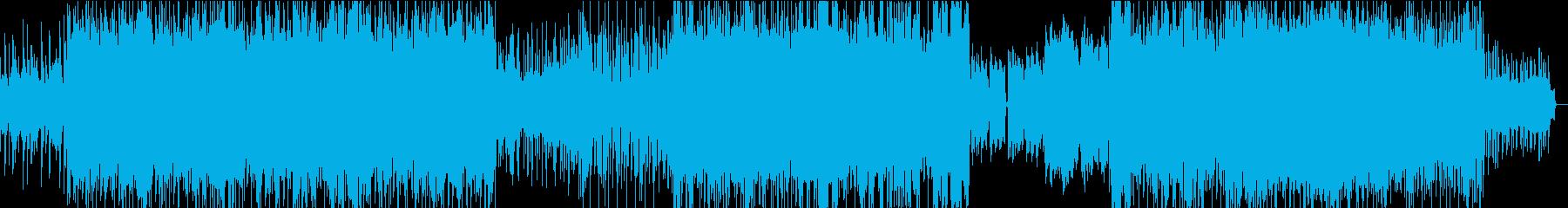 ミッドテンポのギターとシンセの強いビートの再生済みの波形