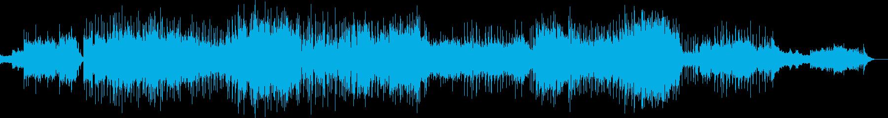 きらめく木洩れ陽と都市のエレクトロビートの再生済みの波形