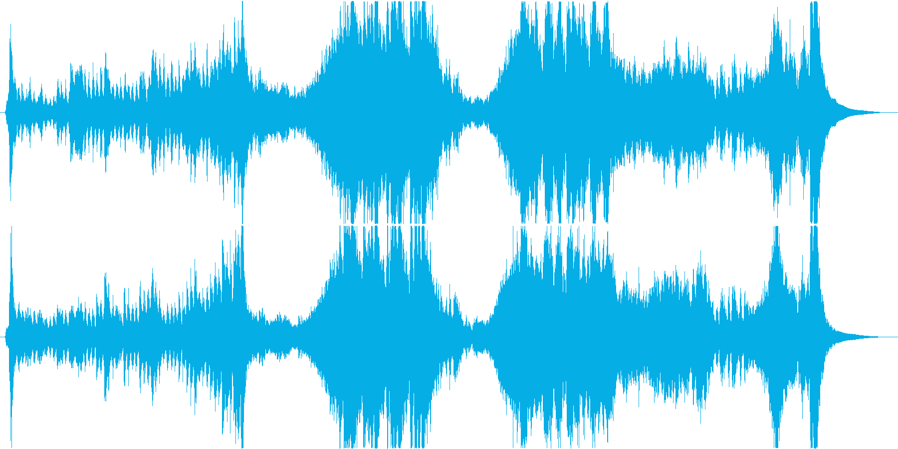 邪鬼から逃げ惑うオーケストラ曲の再生済みの波形
