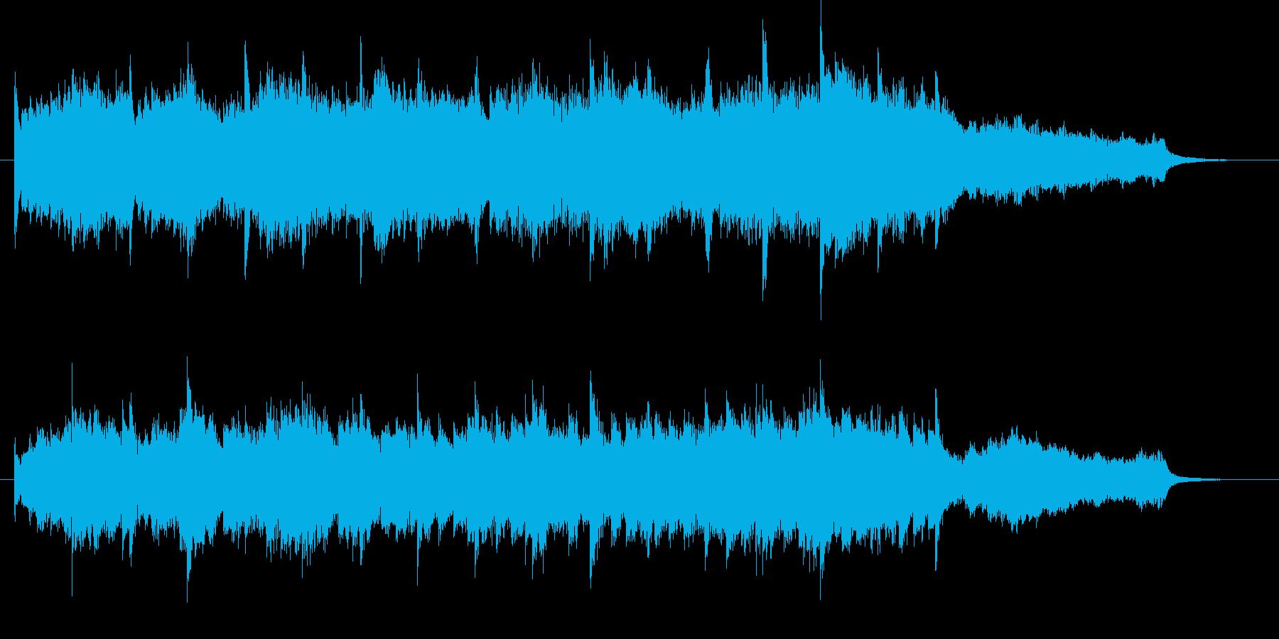 映像に、心が温まるピアノとストリングスの再生済みの波形