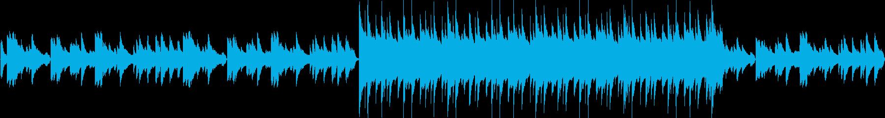 ピアノ・ドラム・ベース編成の儚いBGMの再生済みの波形