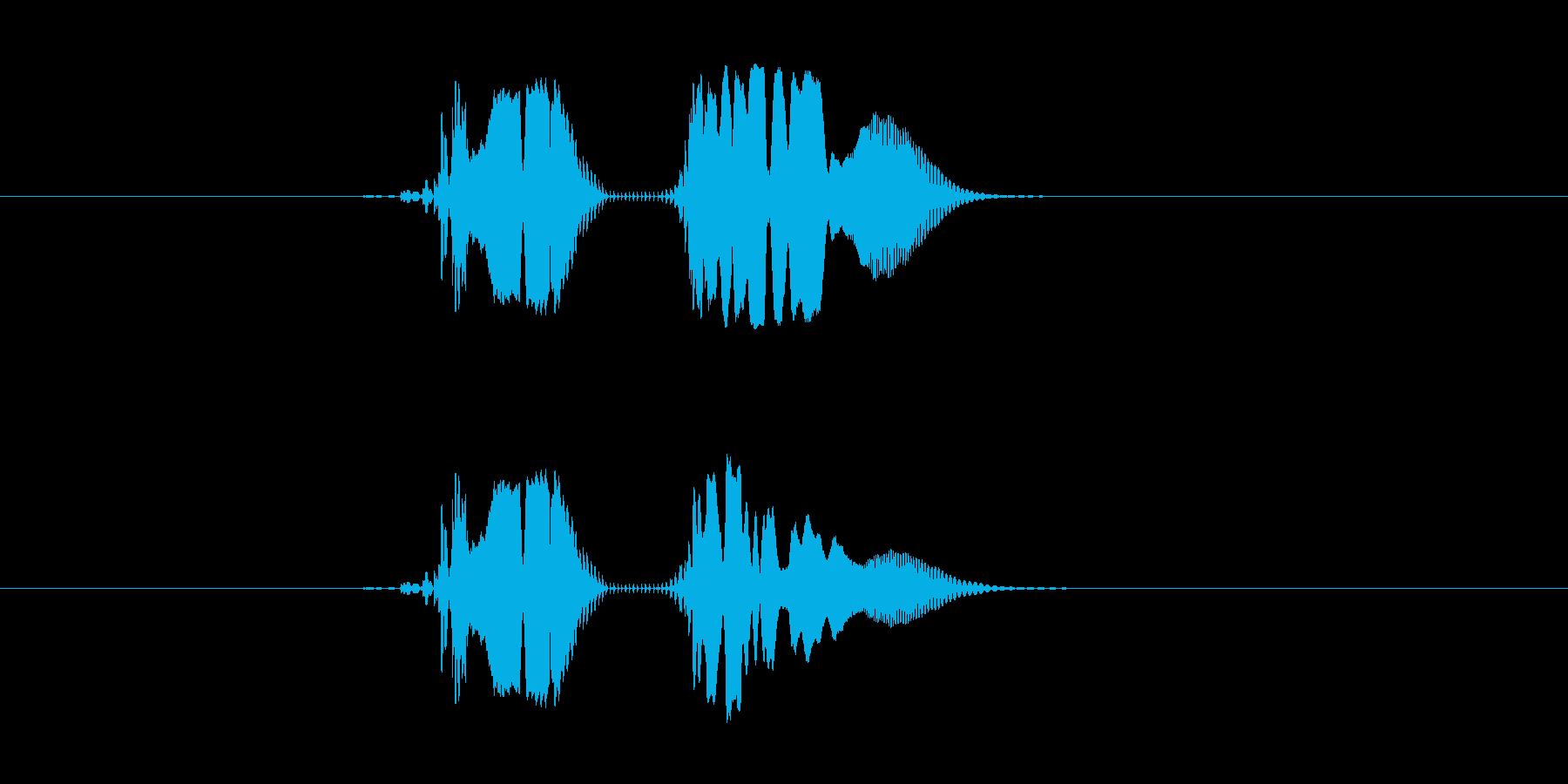「ビィョン」という速度の速めなビーム音の再生済みの波形