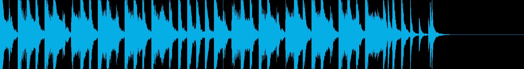 コミカルな15秒BGMの再生済みの波形