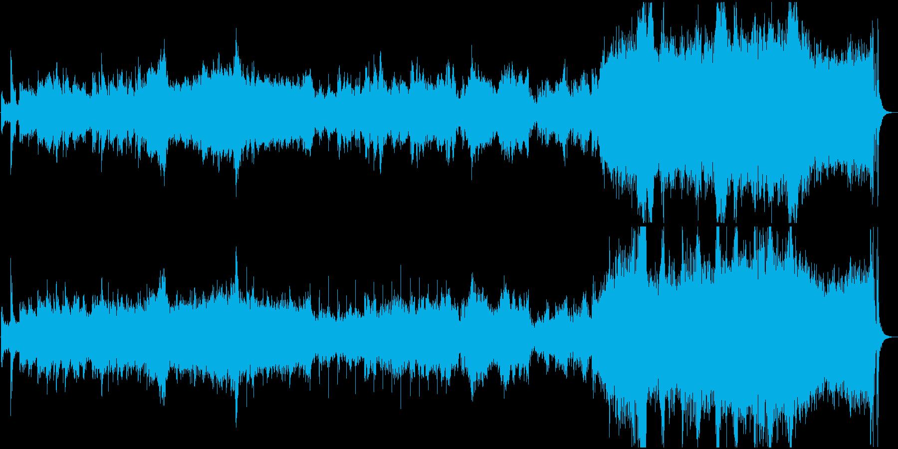 古代地球を滑空するイメージのオーケストラの再生済みの波形