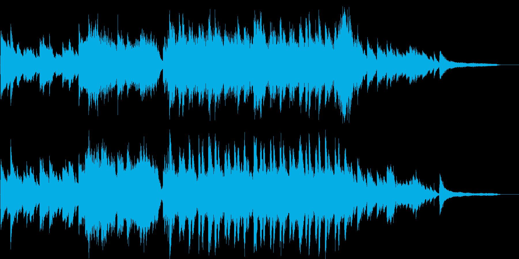 ピアノとストリングスの明るい前向きな曲の再生済みの波形